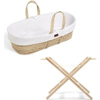The Little Green Sheep Natural Knitted Moses Basket and Stand Bundle-White