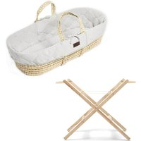 The Little Green Sheep Natural Quilted Moses Basket and Stand Bundle-Dove