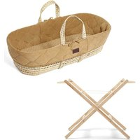 The Little Green Sheep Natural Quilted Moses Basket and Stand Bundle-Honey