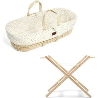 The Little Green Sheep Natural Quilted Moses Basket and Stand Bundle-Printed Linen