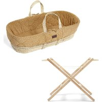 The Little Green Sheep Natural Quilted Moses Basket and Stand Bundle-Printed Honey
