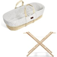 The Little Green Sheep Natural Quilted Moses Basket and Stand Bundle-Printed Dove