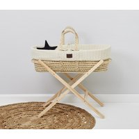 The Little Green Sheep Natural Knitted Moses Basket and Stand Bundle-Linen