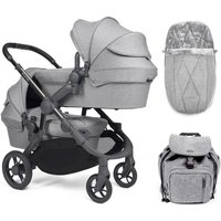 iCandy Orange Twin Pushchair and Carrycot - Light Slate Marl