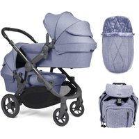 iCandy Orange Twin Pushchair and Carrycot - Mist Blue Marl