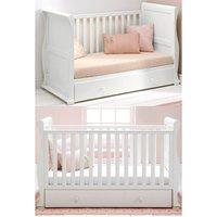 East Coast Alaska Sleigh Cot Bed-White + Underbed Drawer! cashback