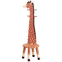 Teamson Safari H/Backed Stool W/Coat Rack-Giraffe (W-1945G) - Kiddies Kingdom Gifts
