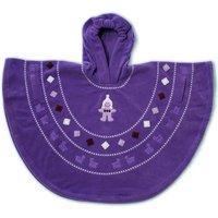 Baby Boum Hooded Fleece Poncho in 'Pichu' design 9-36 months-Grape - Baby Gifts