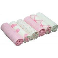 Kiddies Kingdom Deluxe 6 Pack Printed Muslin Squares-Pink & White
