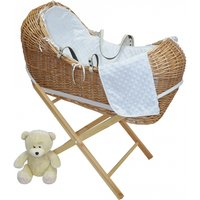 Kiddies Kingdom Deluxe Kiddy-Pod Golden Pine Wicker Moses Basket-White