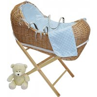 Kiddies Kingdom Deluxe Kiddy-Pod Golden Pine Wicker Moses Basket-Blue
