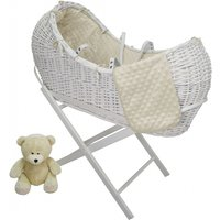 Kiddies Kingdom Deluxe Kiddy-Pod White Wicker Moses Basket-Cream + Free Stand Worth£25!