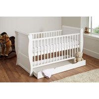 Kiddies Kingdom Sleigh Cot Bed/Toddler Bed (140 x 70cm) With Underbed Drawer-White (New) + Free Foam Mattress worth £40!