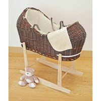 Kiddies Kingdom Deluxe Kiddy-Pod Dark Wicker Moses Basket-Cream + Free Stand Worth£25!