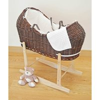 Kiddies Kingdom Deluxe Kiddy-Pod Dark Wicker Moses Basket-White + Free Stand Worth£25!