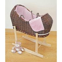 Kiddies Kingdom Deluxe Kiddy-Pod Dark Wicker Moses Basket-Pink + Free Stand Worth£25!