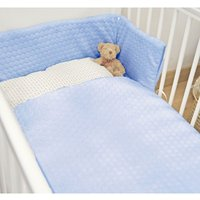 Kiddies Kingdom Marshmallow Cot/Cotbed LUXURY Quilt & Bumper Bedding Set-Blue