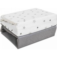 'Kiddies Kingdom Deluxe 2 Pack Moses Basket Fitted Sheets-magical Stars