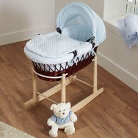 Kiddies Kingdom Deluxe Dark Wicker Moses Basket-Dimple Blue