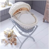 Izziwotnot Grey Wicker Moses Basket-Cream Premium Gift + Includes WHITE Stand!