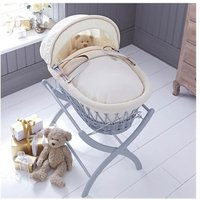 Izziwotnot Grey Wicker Moses Basket-Cream Gift + Includes WHITE Stand!