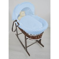 Kiddies Kingdom Deluxe Dark Wicker Moses Basket-Dimple Blue and INCL Rocking Stand!