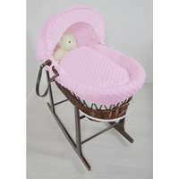 Kiddies Kingdom Deluxe Dark Wicker Moses Basket-Dimple Pink and INCL Rocking Stand!