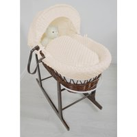 Kiddies Kingdom Deluxe Dark Wicker Moses Basket-Dimple Cream and INCL Rocking Stand!