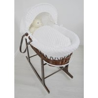 Kiddies Kingdom Deluxe Dark Wicker Moses Basket-Dimple White & INCL Rocking Stand!