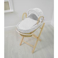 Kiddies Kingdom Dolls Moses Basket-Dimple White With Folding Stand! - Dolls Gifts