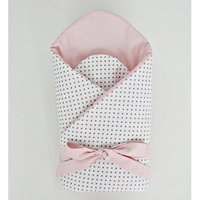 Little Babes Soft Swaddle Wraps-White Spotty With Powder Pink - Spotty Gifts