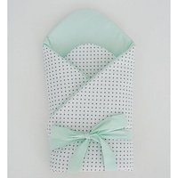 Little Babes Soft Swaddle Wraps-White Spotty With Mint - Spotty Gifts