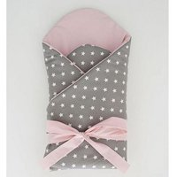 Little Babes Soft Swaddle Wraps-White Stars With Powder Pink - Bags Gifts