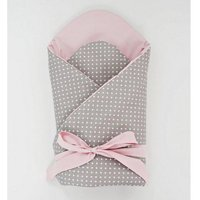 Little Babes Soft Swaddle Wraps-Spotty Grey With Powder Pink - Bags Gifts
