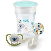 NUK EVOLUTION Magic Cup & Space Schnuller mit Schnullerband Set