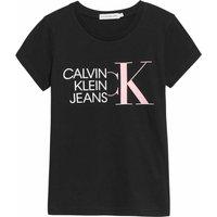Calvin Klein Jeans! Meisjes Shirt Korte Mouw – Maat 176 – Zwart – Katoen