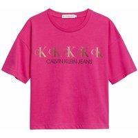 Calvin Klein Jeans! Meisjes Shirt Korte Mouw – Maat 176 – Hardroze – Katoen