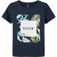 Name It! Jongens Shirt Korte Mouw – Maat 116 – Donkerblauw – Katoen/elasthan