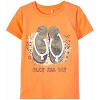 Name It! Jongens Shirt Korte Mouw – Maat 110 – Oranje – Katoen/elasthan