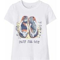 Name It! Jongens Shirt Korte Mouw – Maat 110 – Wit – Katoen/elasthan