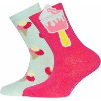 Ewers! Meisjes 2-pack Sokken – Maat 30 – Diverse Kleuren – Katoen/polyester/elasthan