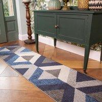 Navy Grey Modern Geometric Living Room Runner Rug   Vivid