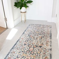 Blue Traditional Distressed Flat Low Pile Hall Runner Rug   Abella