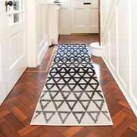 Modern Grey Geometric Triangle Hallway Runner Rug | Alabama