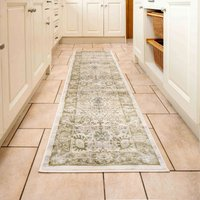 Vintage Traditional Green Floral Hall Runner Rug   Catalina