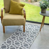 Art Deco Grey Woven Sustainable Recycled Cotton Runner Rug   Kendall