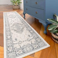 Distressed Vintage Grey Woven Sustainable Recycled Cotton Runner Rug   Kendall