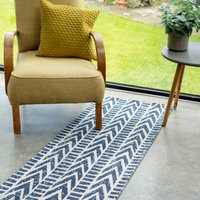Chevron Striped Blue Woven Sustainable Recycled Cotton Runner Rug   Kendall
