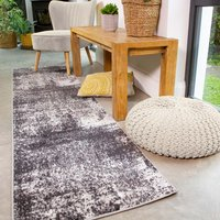 Modern Black Abstract Distressed Runner Rug - Enzo