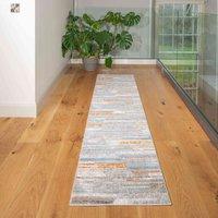 Soft Low Pile Blue Orange Striped Geometric Hall Runner Rug | Jupiter